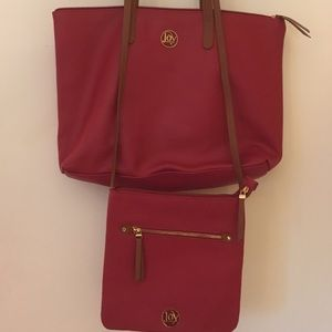 Joy Mangano 3 Piece Leather Tote Bag Set